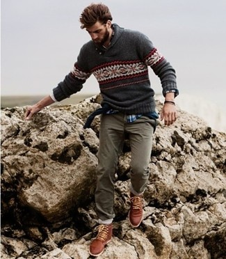 How to wear: charcoal fair isle crew-neck sweater, blue plaid long sleeve shirt, olive chinos, brown leather casual boots