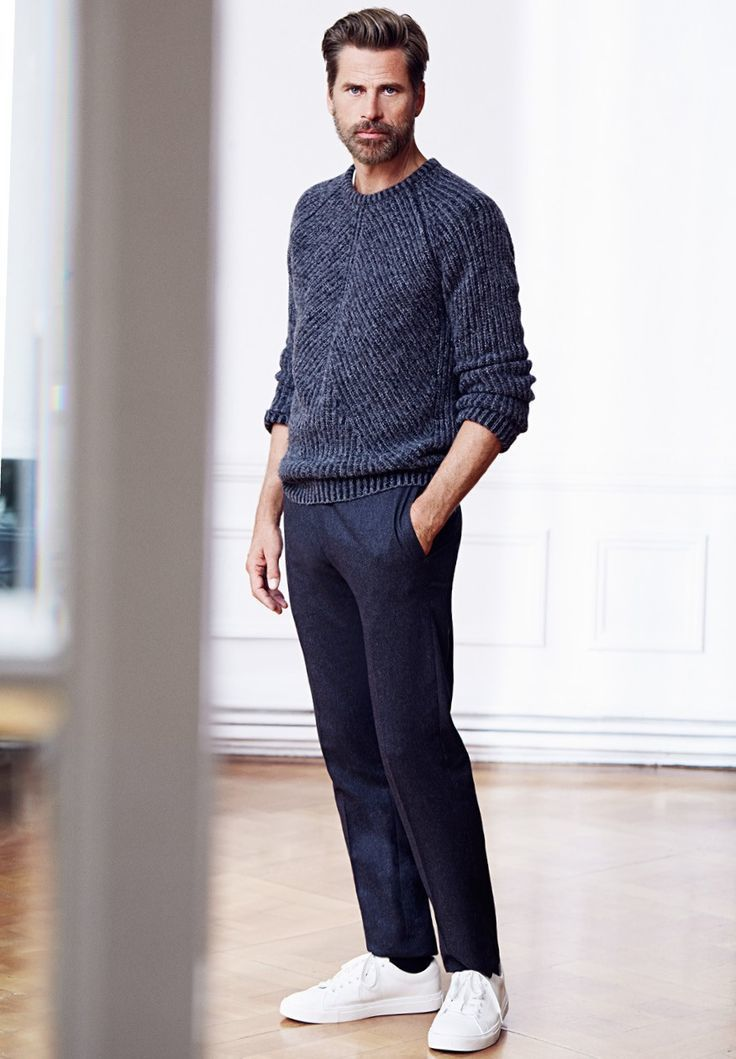 Men's Charcoal Crew-neck Sweater, Charcoal Wool Dress Pants, White ...