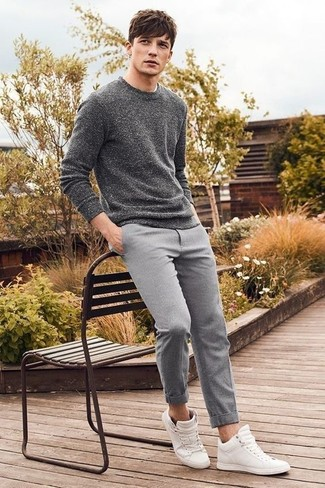 Slim Fit Smart Pants In Wool Mix Gray