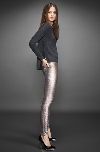 Women's Charcoal Crew-neck Sweater, Silver Leather Skinny Pants, Black Leather Pumps