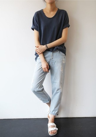 How to wear: charcoal crew-neck t-shirt, light blue ripped boyfriend jeans, white leather flat sandals