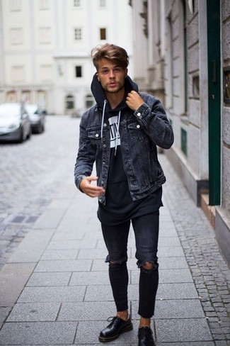 Navy Ripped Skinny Jeans Outfits For Men: A charcoal denim jacket and navy ripped skinny jeans are a good combo to keep in your casual wardrobe. Let your outfit coordination credentials really shine by finishing off your outfit with a pair of black leather derby shoes.