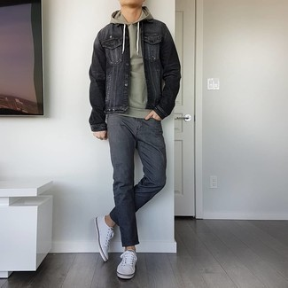 Charcoal Jeans Outfits For Men: Such staples as a charcoal denim jacket and charcoal jeans are an easy way to inject effortless cool into your off-duty styling rotation. A pair of white canvas low top sneakers serves as the glue that will bring this look together.
