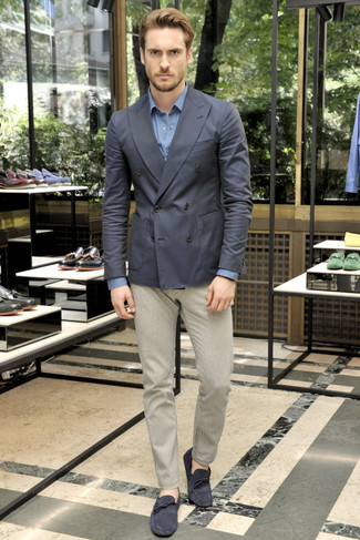 How to wear: charcoal double breasted blazer, blue long sleeve shirt, beige chinos, navy suede driving shoes