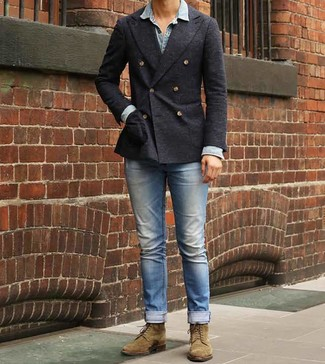 How to wear: charcoal double breasted blazer, light blue denim shirt, light blue jeans, olive suede casual boots