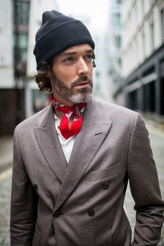 How to wear: charcoal double breasted blazer, white long sleeve shirt, black beanie, red paisley bandana