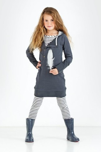 Girls' Looks & Outfits: What To Wear In 2020: Suggest that your little princess opt for charcoal cotton dress and white horizontal striped leggings for a comfortable outfit that's also put together nicely. As far as footwear is concerned, suggest that your little girl throw in a pair of charcoal rain boots.