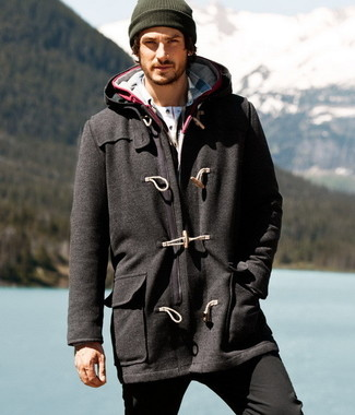 Grey Duffle Coat | Men's Fashion