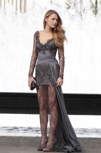Make a charcoal embroidered beaded evening dress your outfit choice for a stylish and sophisticated look. This getup is complemented perfectly with Givenchy Suede Pointed Toe Pumps. As the mercury drops, you'll see that an ensemble like this is ideal for this time.