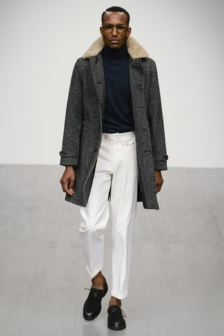 How to wear: charcoal fur collar coat, black turtleneck, white dress pants, black leather derby shoes