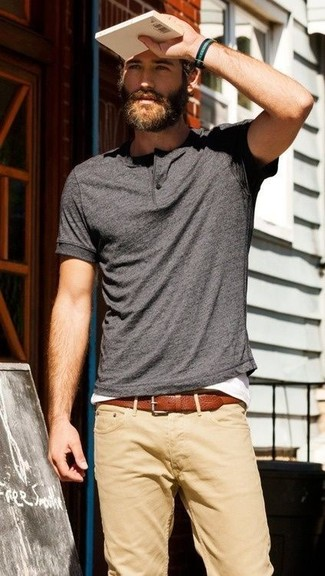 A charcoal henley shirt and khaki casual trousers is a versatile combination that will provide you with variety.