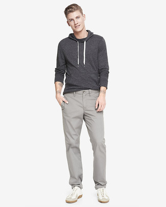 Men's Charcoal Hoodie, Grey Chinos, White Leather Low Top Sneakers