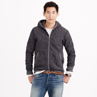 How to wear: charcoal hoodie, white long sleeve t-shirt, blue jeans, brown leather belt