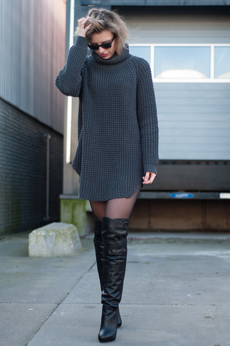 Women's Charcoal Knit Sweater Dress, Black Leather Over The Knee Boots
