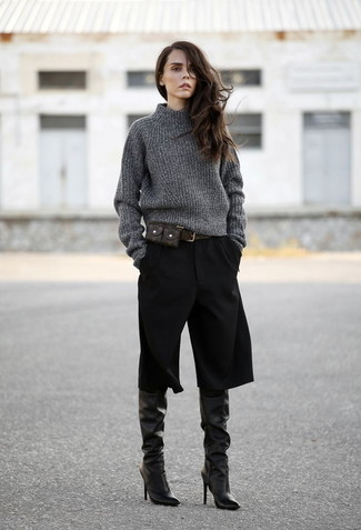 Make a dark grey knit turtleneck and black culottes your outfit choice for an effortless kind of elegance. Black leather knee high boots are a nice choice to complete the look.