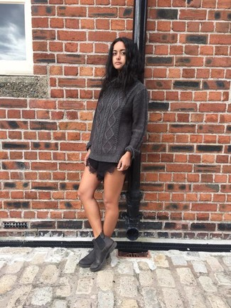 How to wear: charcoal knit turtleneck, black lace shorts, charcoal leather chelsea boots