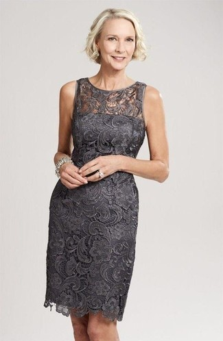 How to wear: charcoal lace sheath dress, silver bracelet, silver ring