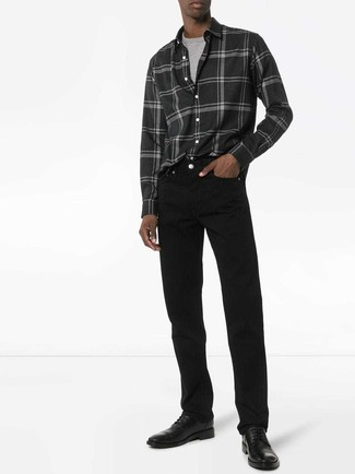 How to wear: charcoal plaid flannel long sleeve shirt, grey crew-neck t-shirt, black jeans, black leather derby shoes