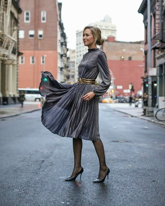 How to wear: charcoal pleated midi dress, black leather pumps, black and gold leather waist belt, black tights