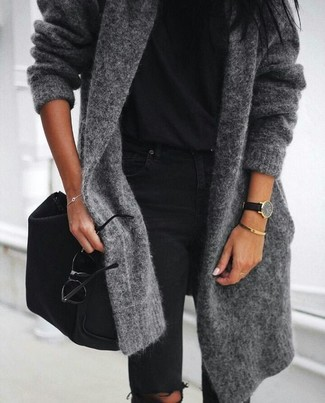 How to wear: charcoal open cardigan, black crew-neck t-shirt, black ripped skinny jeans, black nylon crossbody bag