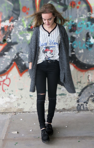 Wear a dark grey knit open cardigan and black distressed slim jeans if you're scouting for an outfit idea for when you want to look casually cool. For the maximum chicness rock a pair of black suede deck shoes. This outfit is super functional and will help you out in in-between weather.