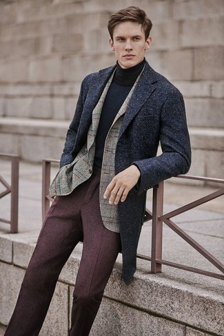 How to wear: charcoal overcoat, beige check wool blazer, black turtleneck, dark brown wool dress pants