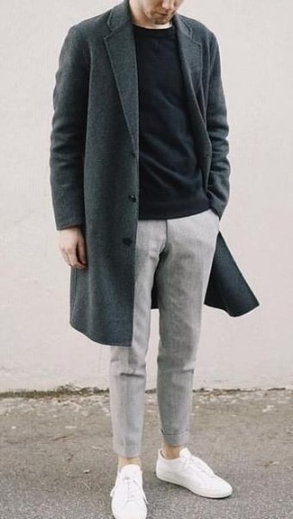 Charcoal Overcoat Outfits: This combination of a charcoal overcoat and grey chinos is the perfect base for an infinite number of getups. To infuse a laid-back feel into this ensemble, introduce white canvas low top sneakers to the mix.