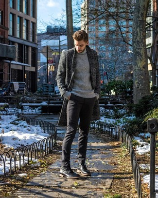 How to wear: charcoal plaid overcoat, grey knit turtleneck, black chinos, black leather casual boots