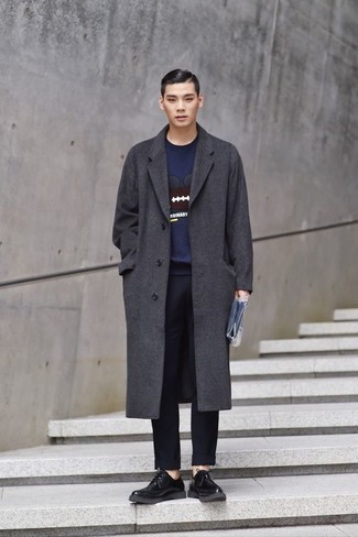 Navy Chinos Outfits: If you don't take fashion lightly, go for an effortlessly smart ensemble in a charcoal overcoat and navy chinos. Why not add a pair of black leather derby shoes to the equation for an added touch of style?