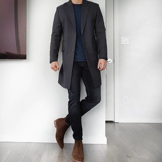 Dark Brown Suede Chelsea Boots Outfits For Men: For an outfit that's nothing less than camera-worthy, consider teaming a charcoal overcoat with black jeans. Balance out this outfit with a smarter kind of footwear, like these dark brown suede chelsea boots.