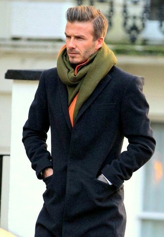 David Beckham wearing Charcoal Overcoat, Olive Wool Scarf