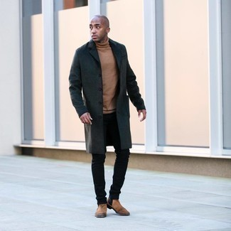 Tan Suede Chelsea Boots with Black Jeans Smart Casual Fall Outfits For Men: This look with a charcoal overcoat and black jeans isn't super hard to pull together and easy to change throughout the day. If you wish to immediately up this outfit with one single piece, why not complete this ensemble with a pair of tan suede chelsea boots? This one is a viable pick if you're piecing together a cool look for transeasonal weather.