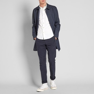 White Canvas High Top Sneakers Cold Weather Outfits For Men: For a casually smart outfit, rock a charcoal plaid overcoat with black chinos — these items play beautifully together. White canvas high top sneakers will immediately dial down a smart look.