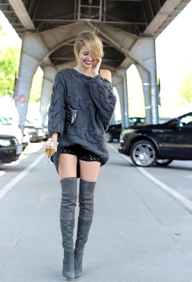 How to Wear a Charcoal Knit Oversized Sweater (67 looks) | Women's ...
