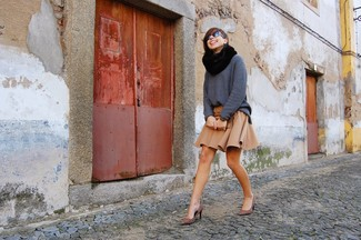 Women's Charcoal Knit Oversized Sweater, Tan Skater Skirt, Brown Leopard Suede Pumps, Black Fur Scarf