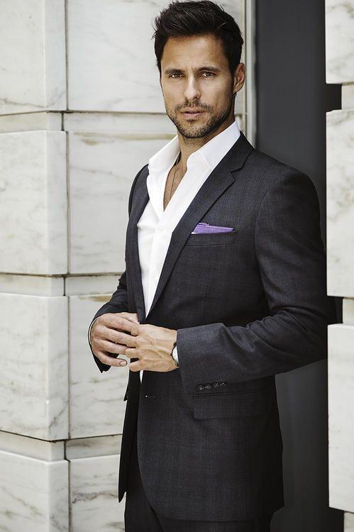 Men\'s Charcoal Plaid Suit, White Dress Shirt, Light Violet Cotton ...