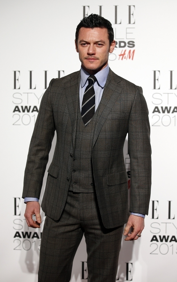 Luke Evans wearing Charcoal Plaid Three Piece Suit, Grey Dress ...