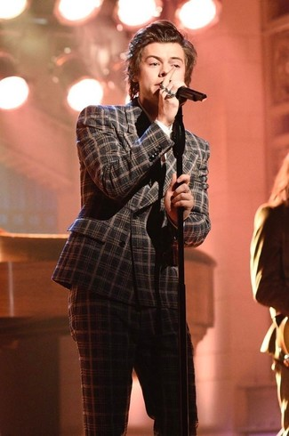 Harry Styles wearing Charcoal Plaid Wool Suit, White Dress Shirt