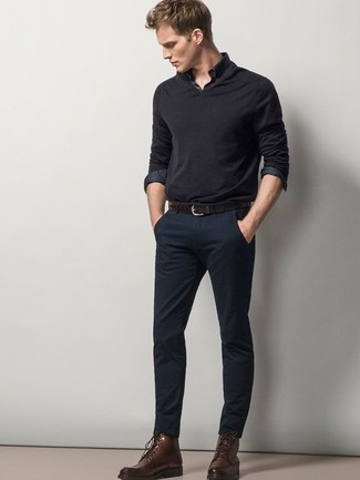 How to Wear a Charcoal Polo Neck Sweater For Men: We love the way this classic and casual pairing of a charcoal polo neck sweater and navy chinos immediately makes you look on-trend. Dark brown leather casual boots are a tested footwear option that's also full of personality.