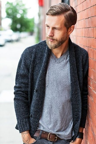 Men's Charcoal Shawl Cardigan, Grey V-neck T-shirt, Charcoal Jeans, Dark Brown Leather Belt