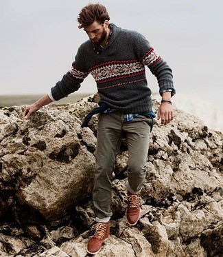 Charcoal Shawl-Neck Sweater | Men's Fashion