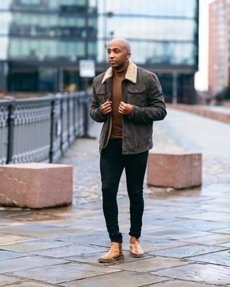 Shirt Jacket Outfits For Men: Why not pair a shirt jacket with black skinny jeans? These two pieces are totally comfortable and look nice teamed together. If you want to immediately bump up this outfit with one single item, enter tan leather chelsea boots into the equation.
