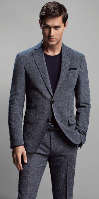 Men's Charcoal Suit, Black Crew-neck T-shirt, Blue Pocket Square ...
