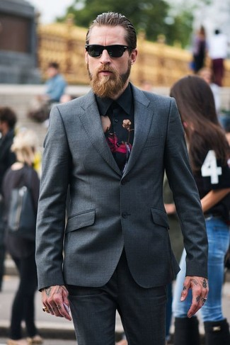How to wear: charcoal suit, black floral dress shirt, black sunglasses