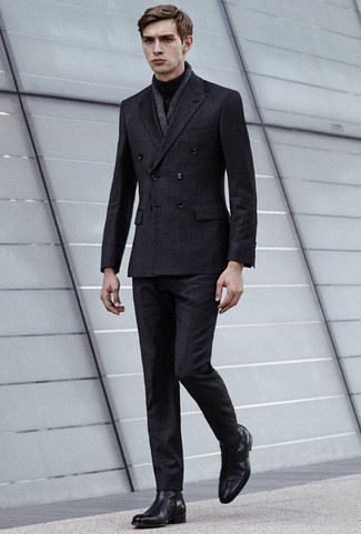 How to wear: charcoal check suit, black turtleneck, black leather chelsea boots, charcoal linen scarf