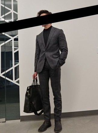 Check Suit Outfits: Breathe an elegant touch into your day-to-day outfit choices with a check suit and a black turtleneck. All you need is a pair of black leather chelsea boots to complete your outfit.