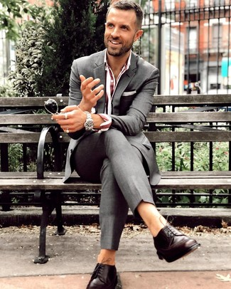 How to wear: charcoal suit, burgundy vertical striped dress shirt, dark brown leather derby shoes, silver watch