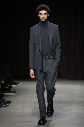How to wear: charcoal suit, charcoal turtleneck, black leather derby shoes