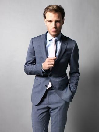 Men's Charcoal Suit, Light Blue Dress Shirt, Beige Tie