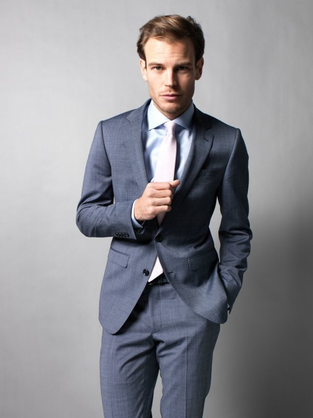 Grey Suit With Light Blue Shirt Dress Yy